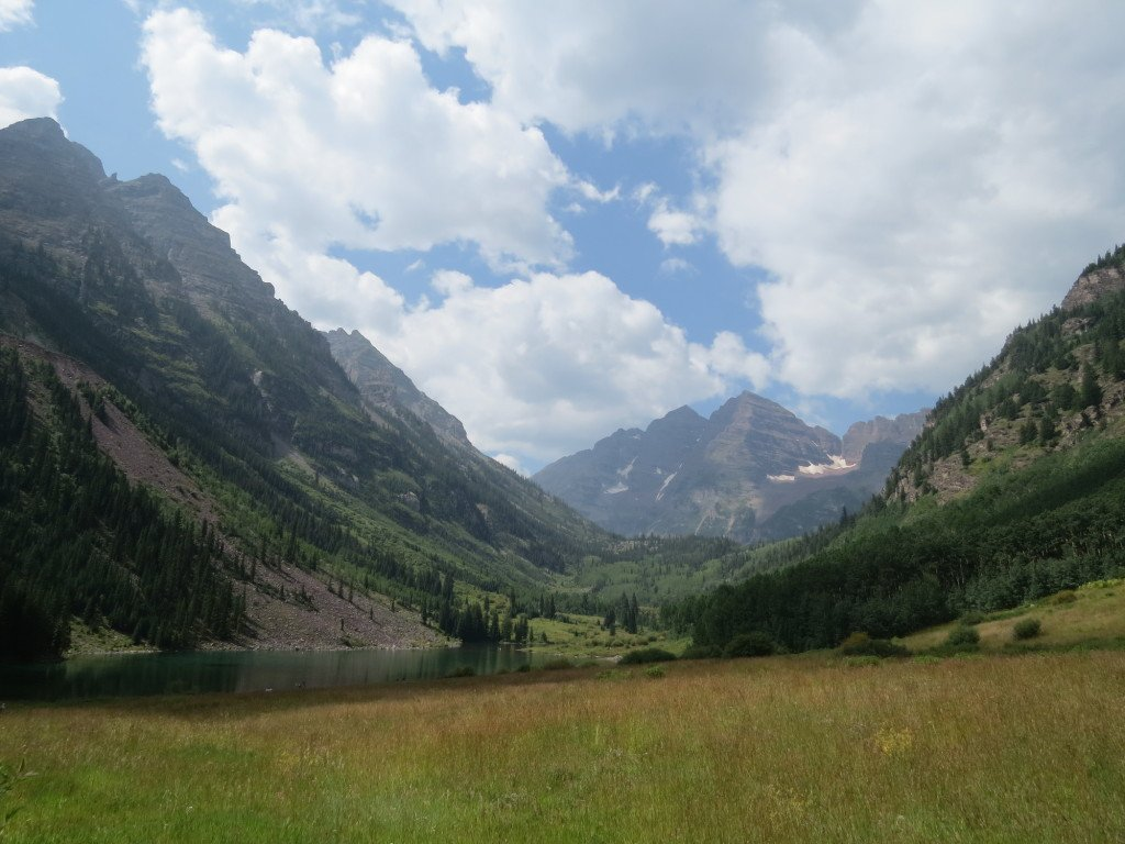 View of the Maroon Bells about 100 yards from where the bus drops you off