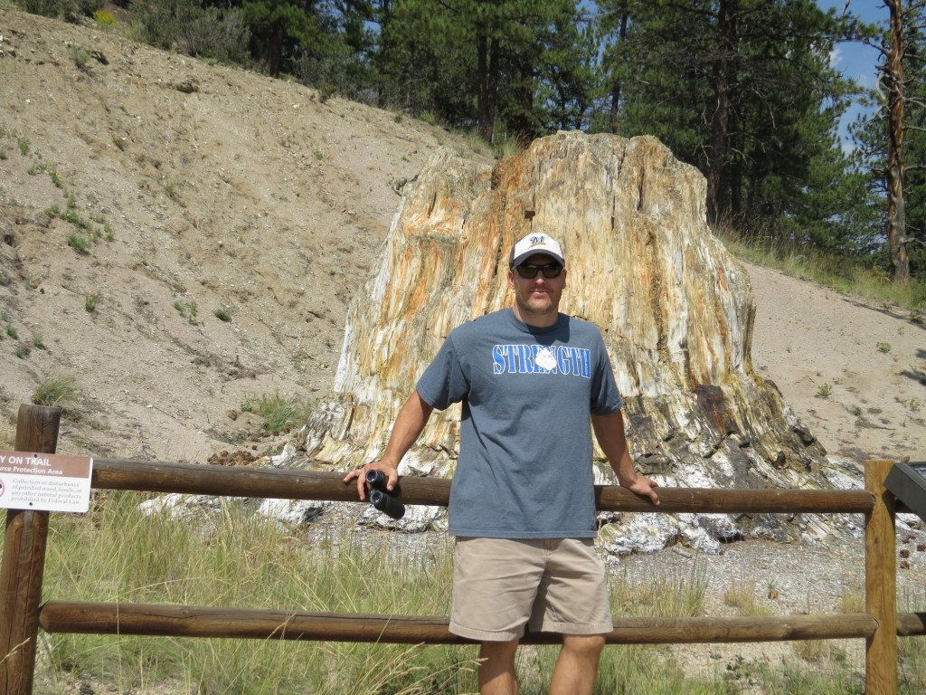 Chadd giving some scale to a petrified redwood stump