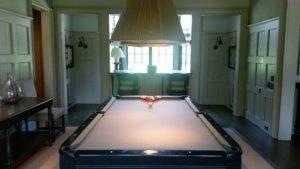 Billiard room inside Watson Cottage