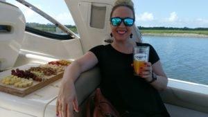 Kristi enjoying a mimosa on our river cruise.