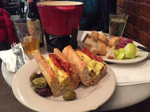 "Fondue and ""breakfast all day"" sandwich at The Vintner"