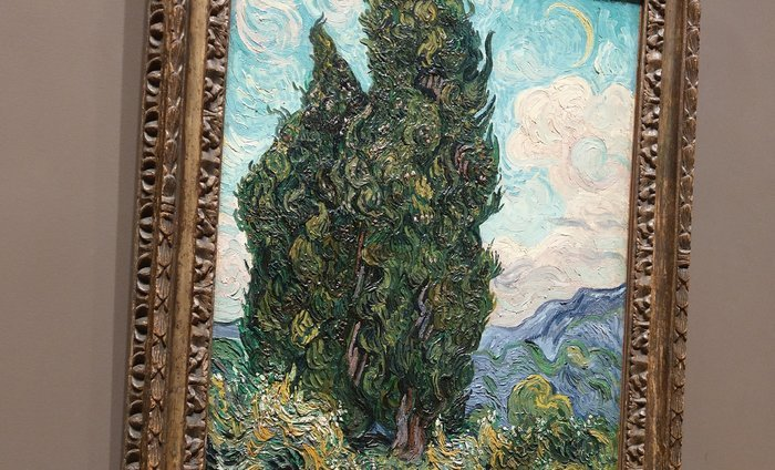 "Van Gogh's ""Cypresses"" at Metropolitan Museum of Art."