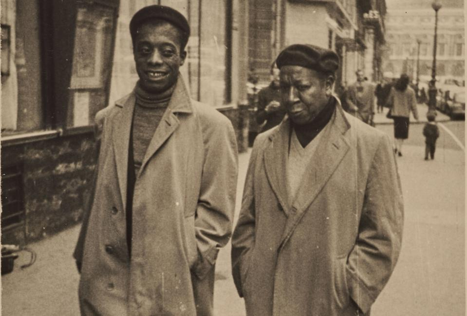 James Baldwin and Beauford Delaney, Paris, circa 1960. Photographer anonymous, photo cropped .ESTATE OF BEAUFORD DELANEY.
