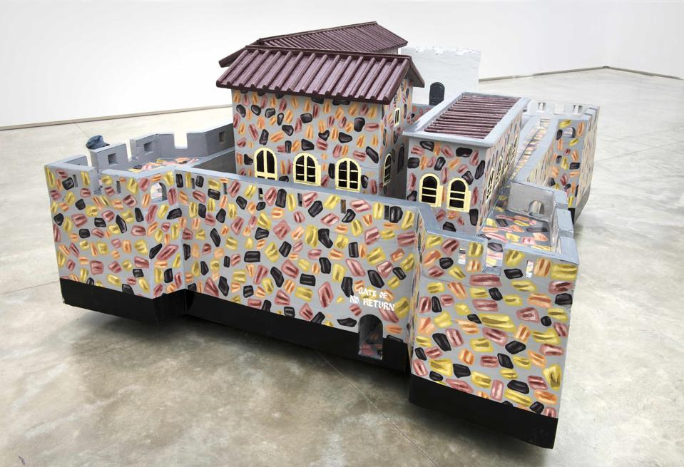 Paa Joe (Ghanaian, born 1947), '[Fort] Gross - Friedrichsburg – Princetown.' 1683 Brandenburg, 1717 - 24 Ahanta, 1724 Neths, 1872 Britain, 2004 – 2005 and 2017, emele wood and enamel. PEABODY ESSEX MUSEUM, GIFT OF JACK SHAINMAN GALLERY, 2019.58.2 . PHOTO © PAA JOE, COURTESY OF THE ARTIST AND JACK SHAINMAN GALLERY, NEW YORK.