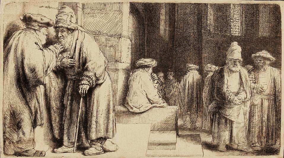 Rembrandt Harmenszoon van Rijn etchings on display at the Elverhoj Museum of History & Art, in Solvang, CA: 'Jews in the Synagogue' Etching and drypoint on laid paper, 1648. COURTESY OF ELVERHOJ MUSEUM OF HISTORY & ART
