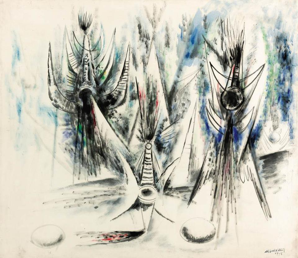 Wifredo Lam (1902-1982), 'LES OISEAUX VOILÉS,' 1945. Signed and dated 1945 lower right, oil on canvas 43 5/8 x 49 1/2 in. 111 x 125.7 cm. GARY NADER, MIAMI.