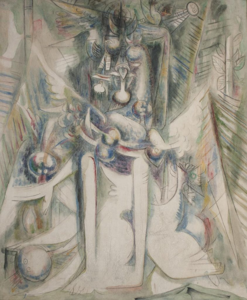 WIFREDO LAM (Cuba 1902 - 1982), 'Hermes Trismegiste,' 1945. Oil on canvas, 63 x 50 In. 160 x 127 Cm. Signed and dated lower right. GARY NADER, MIAMI.