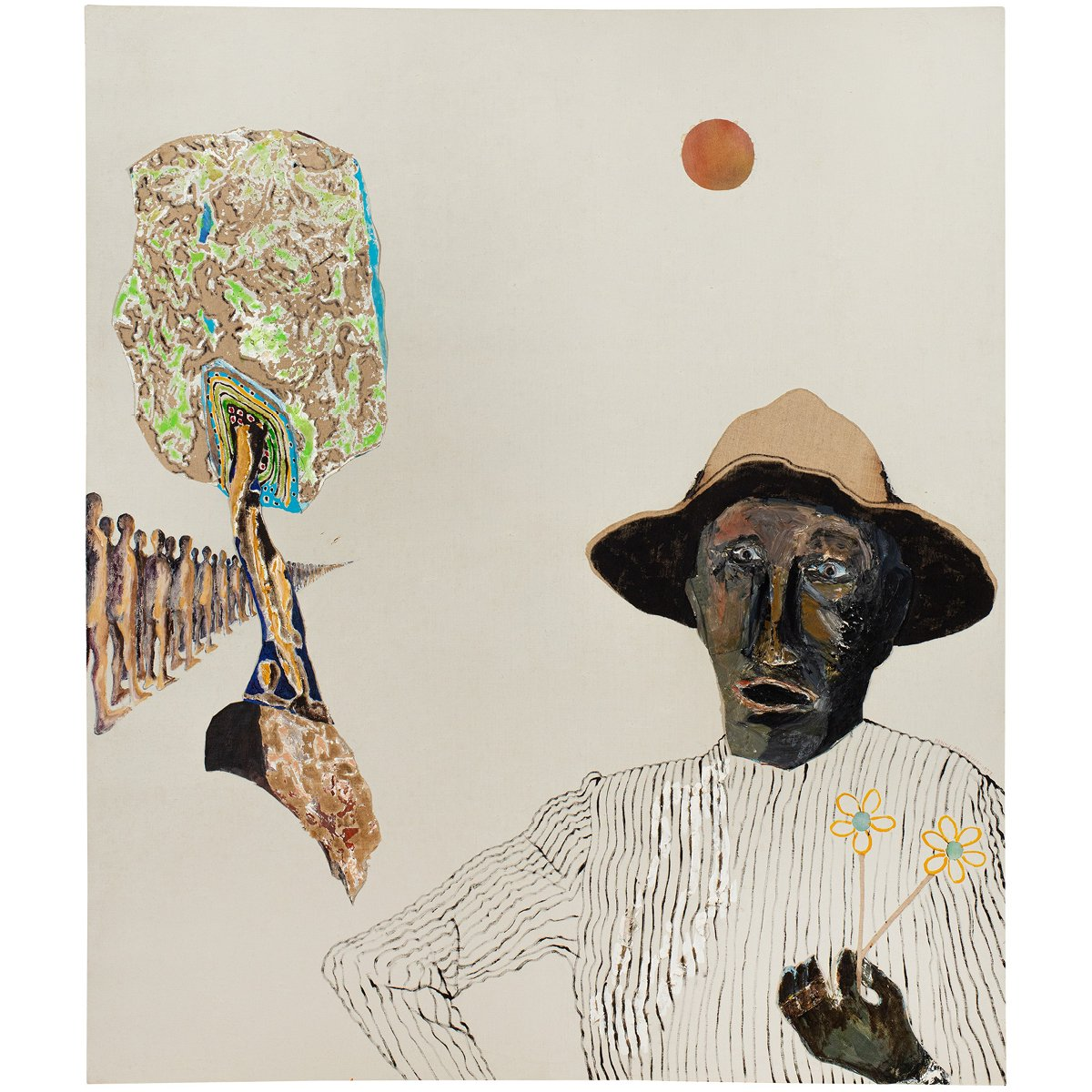 Benny Andrews (1930–2006), Louie, 1977, oil on canvas with painted fabric and mixed media collage, 59 1/2 x 51 x 1 3/4 inches / 151.1 x 129.5 x 4.4 cm, signed.