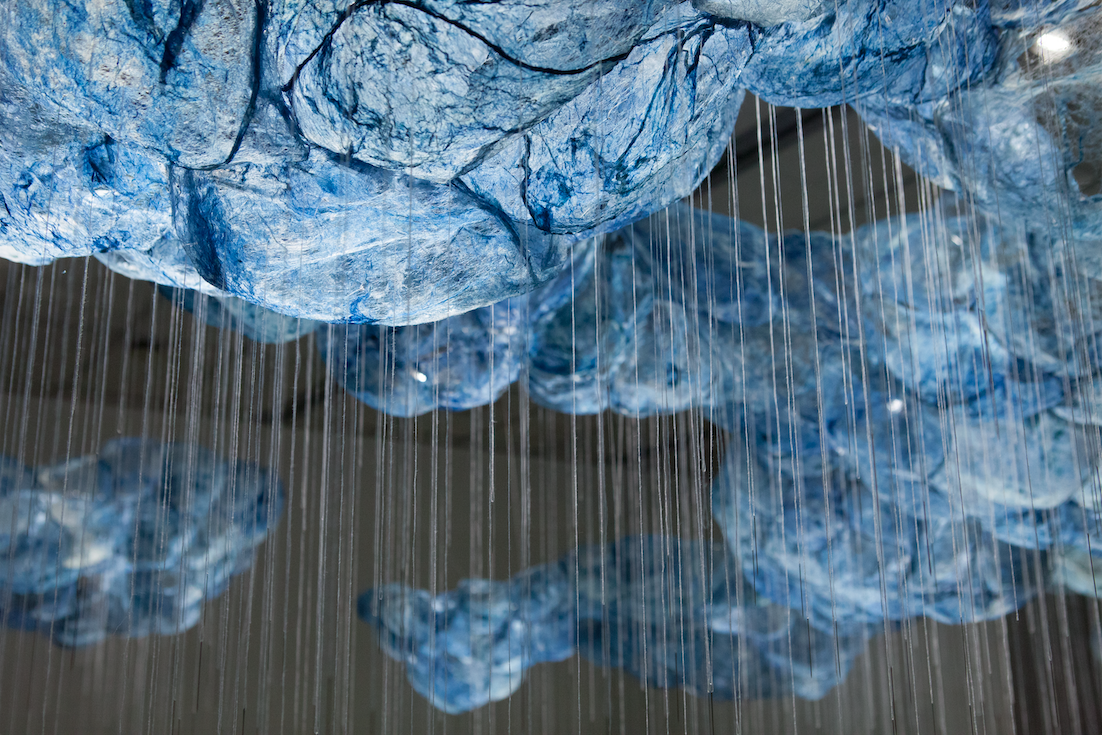 Beili Liu, After All/Mending The Sky, 2018-ongoing (detail), Silk, cyanotype, sewing needle, thread, wire, hardware, dimensions variable, 2017 © Beili Liu Studio