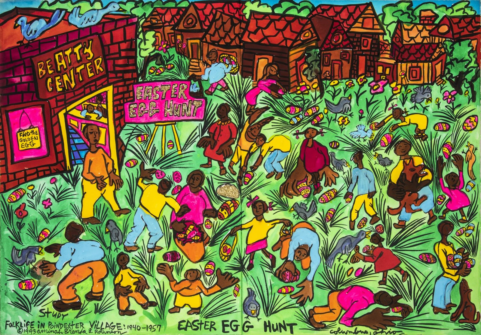 Aminah Brenda Lynn Robinson, Easter Egg Hunt, 1993, watercolor with thread, 29 ¾ x 44 in., Columbus Museum of Art, Estate of the Artist.