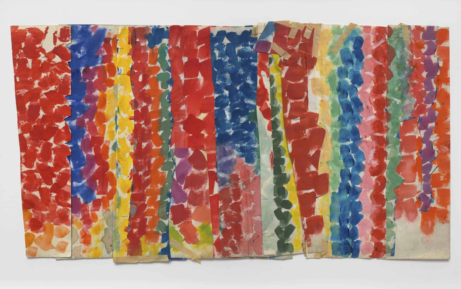 Alma W. Thomas (American, 1891–1978), Untitled, ca. 1968. Acrylic on cut, stapled, and taped paper. Collection of Steve and Lesley Testan as curated by Emily Friedman Fine Art. Image courtesy Mnuchin Gallery, New York. Photography by Tom Powel Imaging.