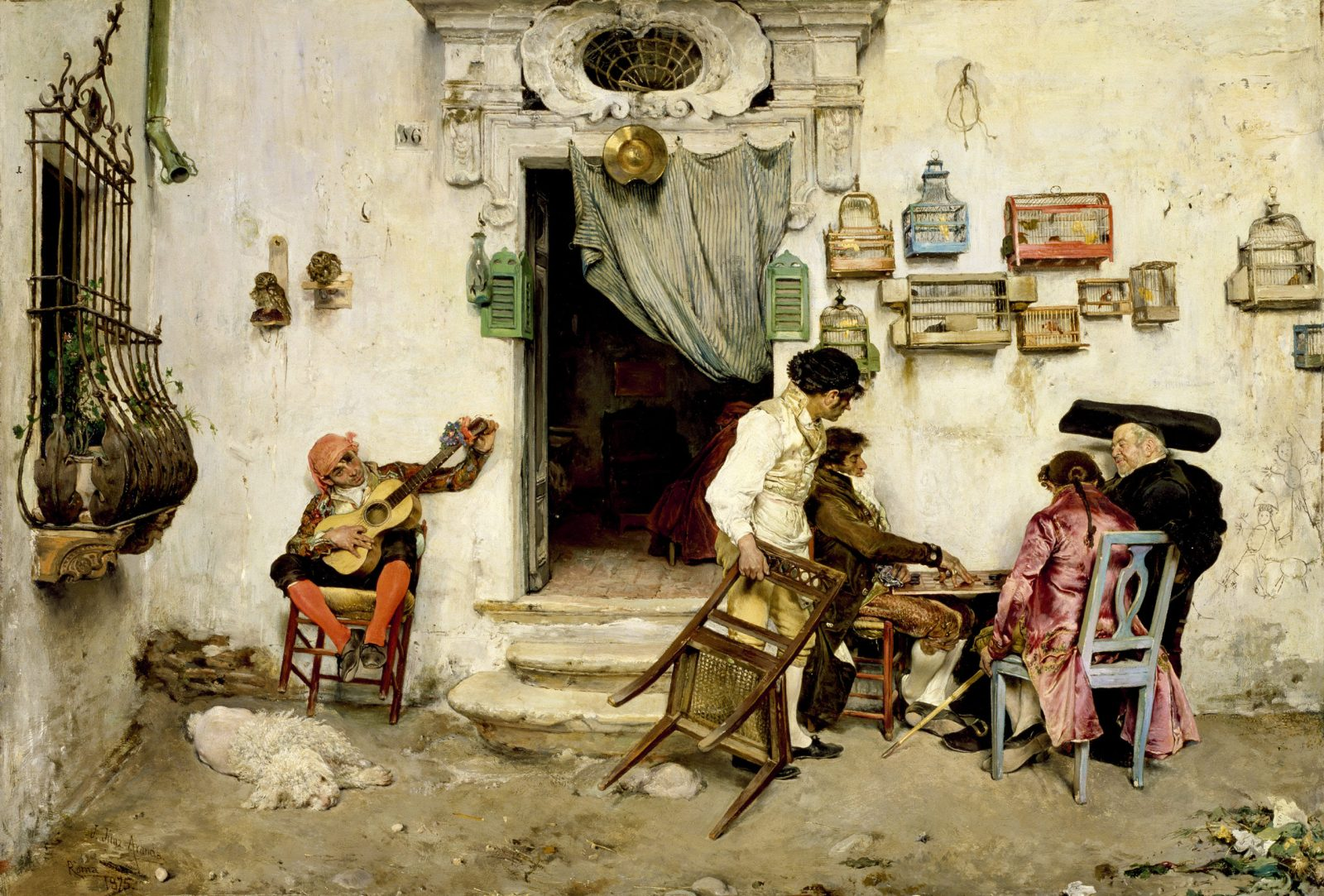 José Jiménez Aranda (Spanish, 1837–1903) Figaro's Shop, 1875 Oil on canvas Walters Art Museum, acquired by William T. Walters before 1878.