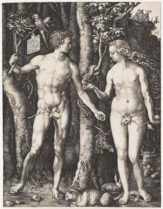 Albrecht Dürer (1471–1528). Adam and Eve, 1504. Engraving, platemark: 9 5/8 x 7 1/2 in. Cincinnati Art Museum, Bequest of Herbert Greer French, 1943.193