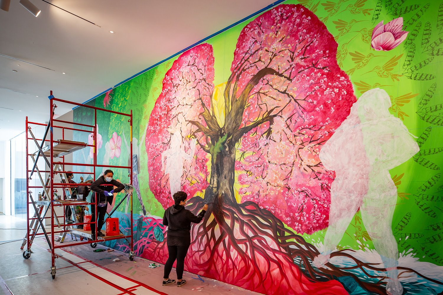 Twin Walls Mural Company at work on their mural commission at SFMOMA, 2020; photo: Katherine Du Tiel, courtesy SFMOMA.