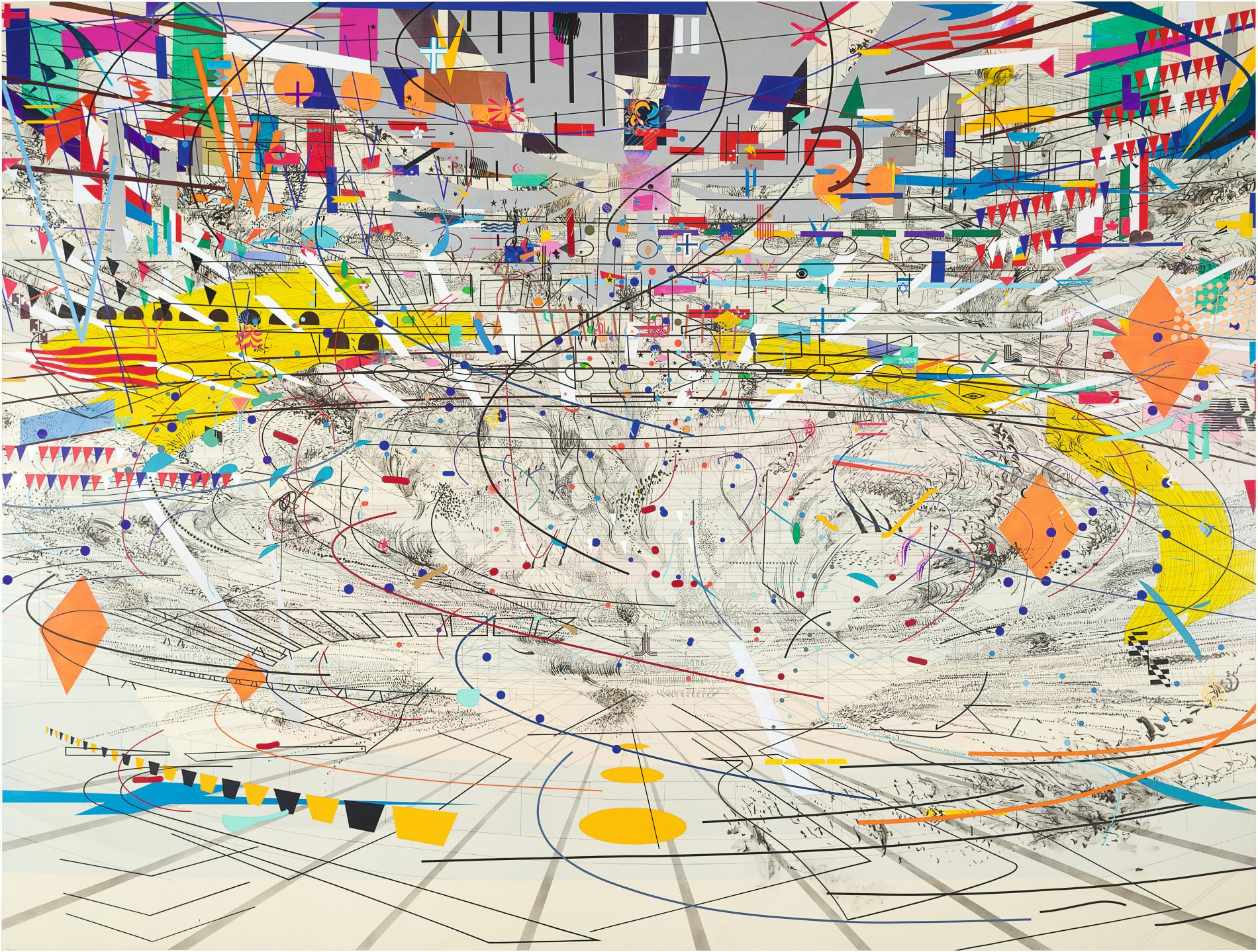 Julie Mehretu, Stadia II , 2004, ink and acrylic on canvas, 108 × 144 inches, Carnegie Museum of Art, Pittsburgh, gift of Jeanne Greenberg Rohatyn and Nicola s Rohatyn and A. W. Mellon Acquisition Endowment Fund. © Julie Mehretu, photograph courtesy of the Carnegie Museum of Art