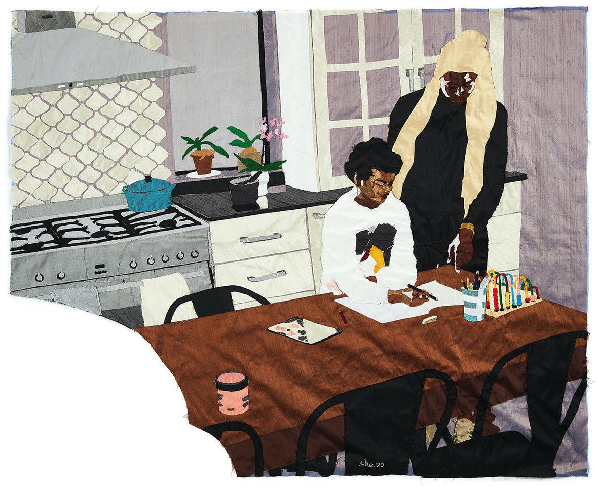 BILLIE ZANGEWA Heart of the Home, 2020 Hand-stitched silk collage 53.5 x 43.25 inches.