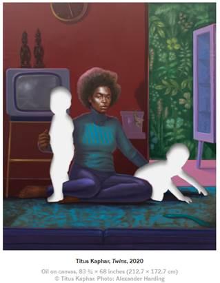 TITUS KAPHAR Twins, 2020 Oil on canvas 83 3/4 x 68 inches 212.7 x 172.7 cm © Titus Kaphar Photo: Alexander Harding Courtesy the artist and Gagosian.