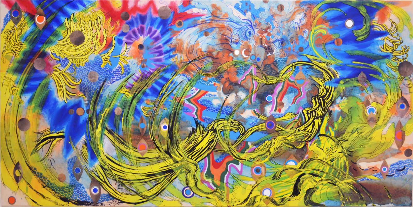 Lucid yellow, 2020, ink and acrylic on Hanji mounted on canvas, 24in x 48in