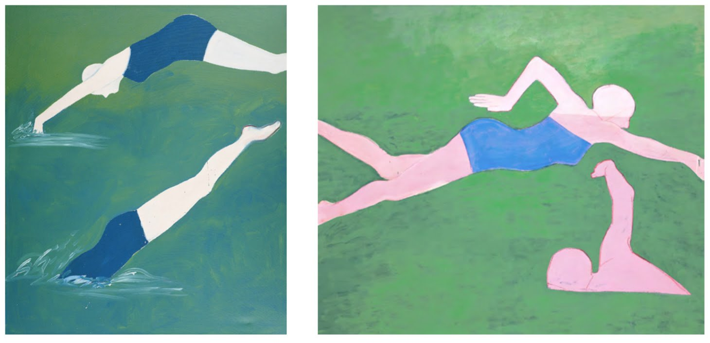 Joan Brown, The Swimmers #1 (Diving), 1973. Oil enamel and oil pastel on canvas; 84 1/2 x 72 1/2 in (214.6 x 184.2 cm). Private collection, courtesy Venus Over Manhattan, New York. Joan Brown, The Swimmers #2 (The Crawl), 1974. Enamel and oil pastel on canvas; 73 x 85 in (185.4 x 215.9 cm) Collection of Jill + Darius Bikoff, courtesy Venus Over Manhattan, New York.