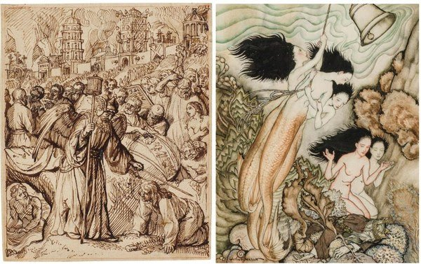 (l.) Rembrandt School (Dutch, 17th Century), The Angel Saves Lot and His Family, c. 1660. Pen and brown ink on buff paper, red chalk framing lines. 159 x 129 mm. (r.) Arthur Rackham (British 1867-1939). The Tempest, 1925. Pen and ink with watercolor, 11.5 x 9.5 inches.