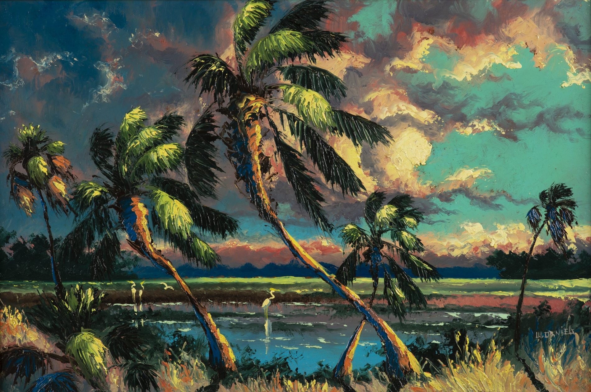 Willie Daniels Untitled [ Sabal palm shoreline ] n.d. Oil on Upson board 24 x 36 in. Courtesy of the Lightle Collection © Willie B. Daniels Photography by Tariq Gibran