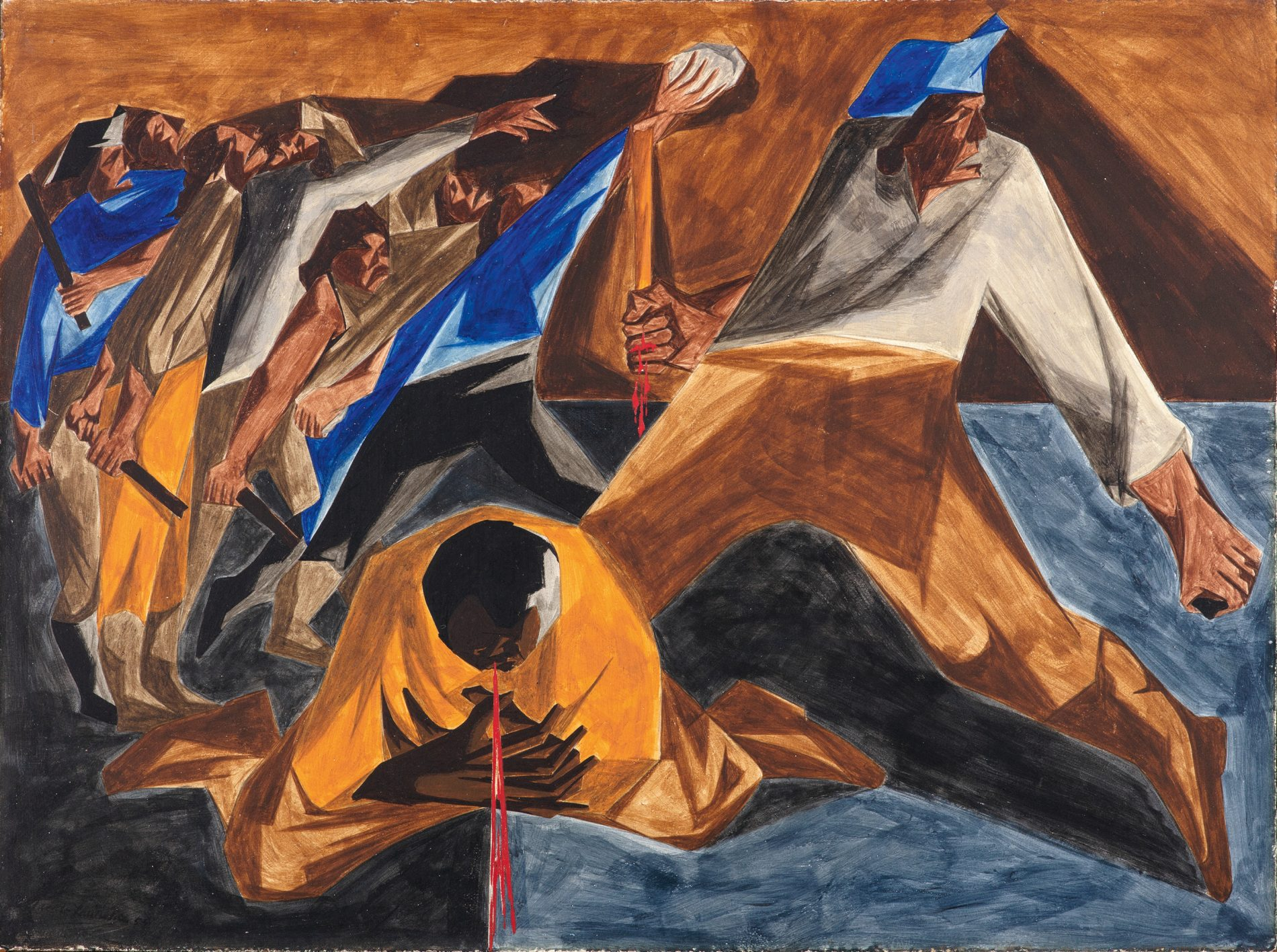 Jacob Lawrence, Panel 2. Massacre in Boston, 1955. From Struggle Series, 1954–56 Egg tempera on hardboard 12 × 16 in. (30.5 × 40.6 cm) Collection of Harvey and Harvey-Ann Ross © The Jacob and Gwendolyn Lawrence Foundation, Seattle / Artists Rights Society (ARS), New York. Photo by Bob Packert/PEM
