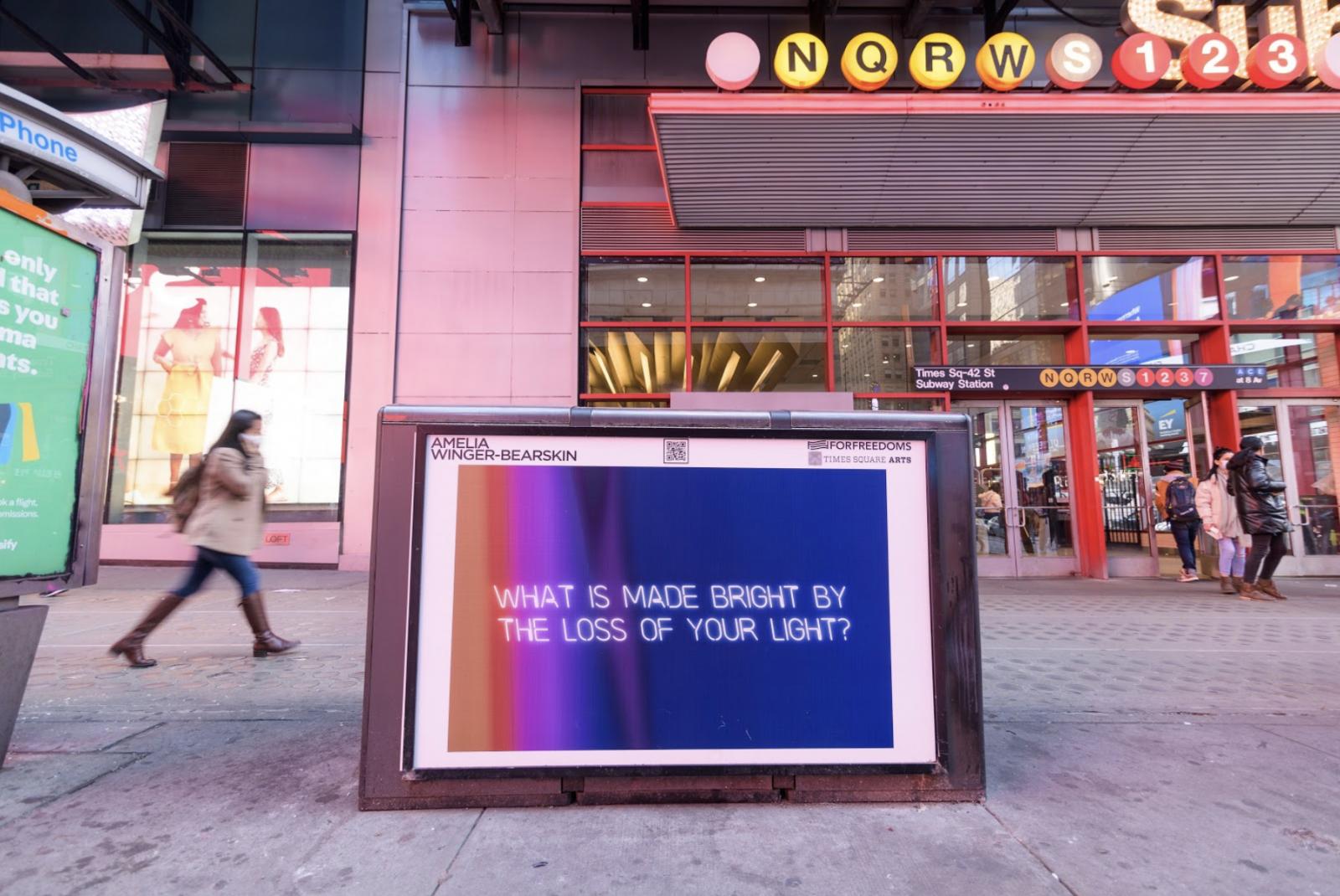 Amelia Winger-Bearskin. Photo by Ian Douglas. Courtesy of Times Square Arts.