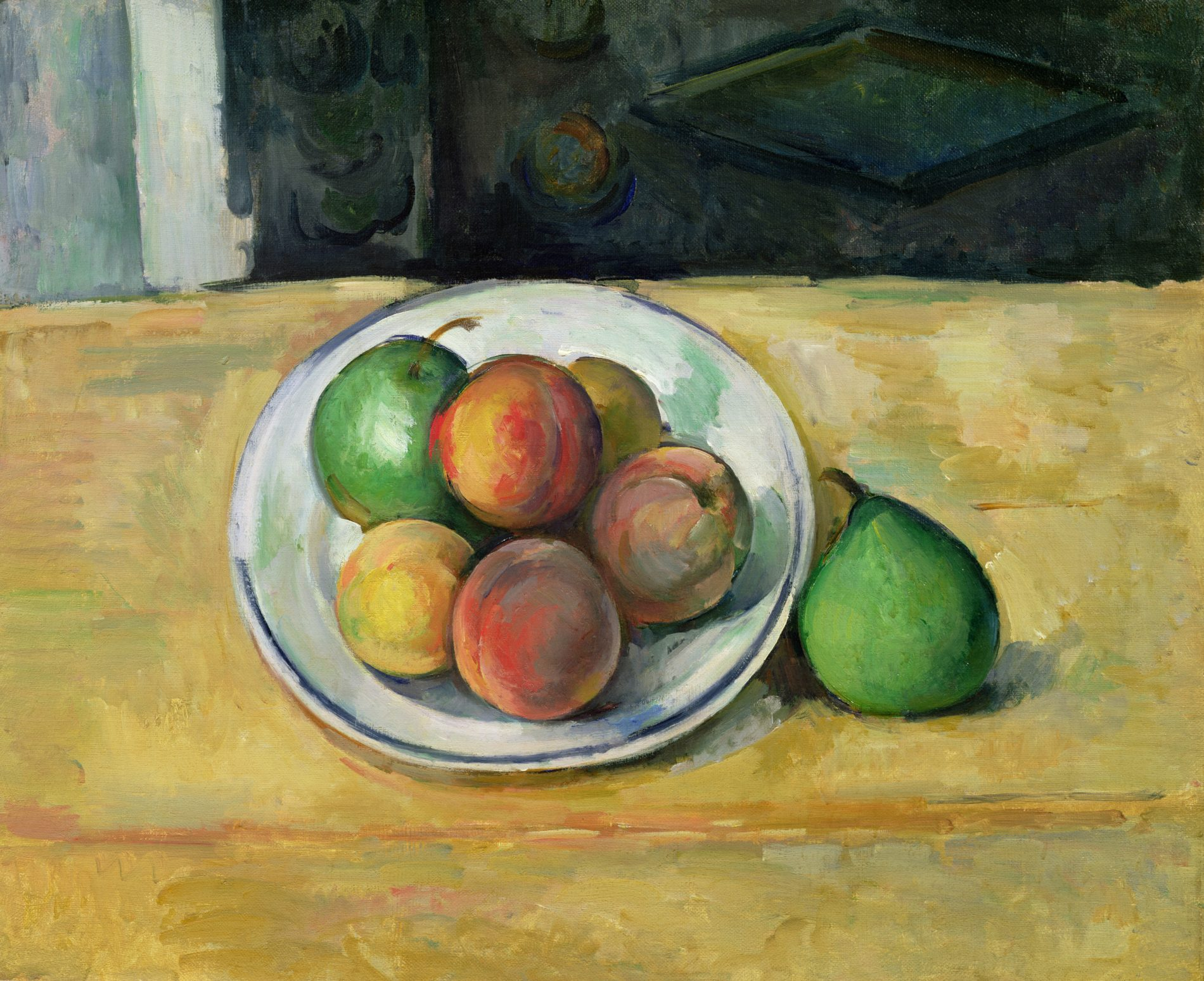Nature morte de pêches et poires (Still life with Peaches and Pears), about 1885-87, Paul Cézanne. Oil on Canvas.