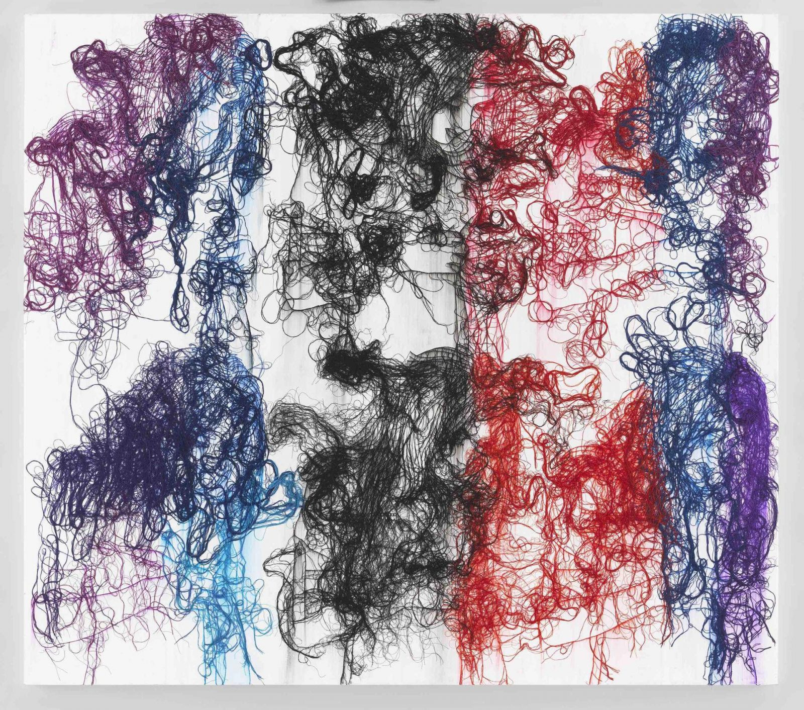 Ghada Amer, Glimpse into a New Painting, 2018. Acrylic, embroidery and gel medium on canvas, 64 x 72 inches (162.6 x 182.9 cm). Courtesy the artist and Marianne Boesky Gallery.
