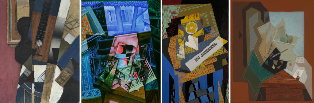 Images: Juan Gris, Guitar and Pipe, 1913, oil and charcoal on canvas, Dallas Museum of Art, The Eugene and Margaret McDermott Art Fund, Inc.; Juan Gris, Still Life before an Open Window, Place Ravignan, 1915, oil on canvas, Philadelphia Museum of Art, The Louise and Walter Arensberg Collection, 1950; Juan Gris, Newspaper and Fruit Dish, 1916, oil on canvas, Yale University Art Gallery, Gift of Collection Société Anonyme. Photo © Yale University Art Gallery; Juan Gris, The Painter's Window, 1925, oil on canvas, Baltimore Museum of Art: Bequest of Saidie A. May. Photography by Mitro Hood.