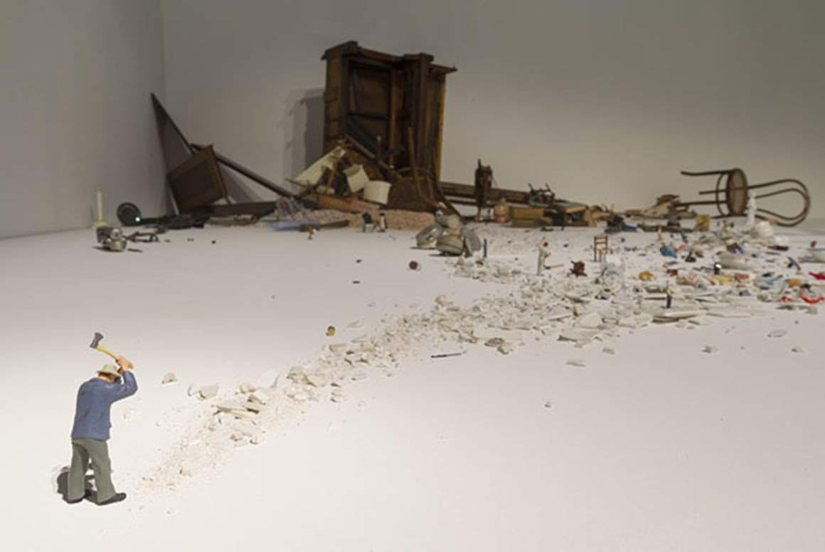 Liliana Porter. Man with Axe and Other Stories (detail), 2017. Figurines, objects, and wooden base, dimensions variable. Collection Pérez Art Museum Miami, museum purchase withfunds provided by Jorge M. Pérez, 2017.013. © Liliana Porter. Photo: Rhinebeck Studio.