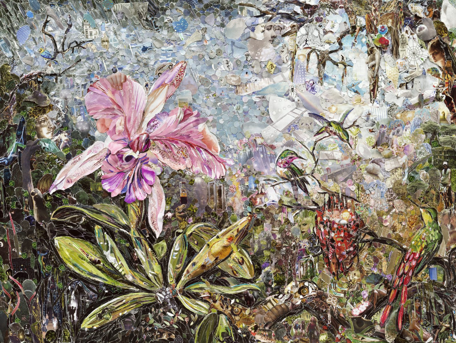 Vik Muniz (American, b. 1961) Orchid and Three Brazilian Hummingbirds , 2013 Digital C print, 40 x 53 in., Exhibition print courtesy of the artist and Sikkema, Jenkins & Co. Gallery, NY. ©Vik Muniz / VAGA at Artists Rights Society (ARS), NY.