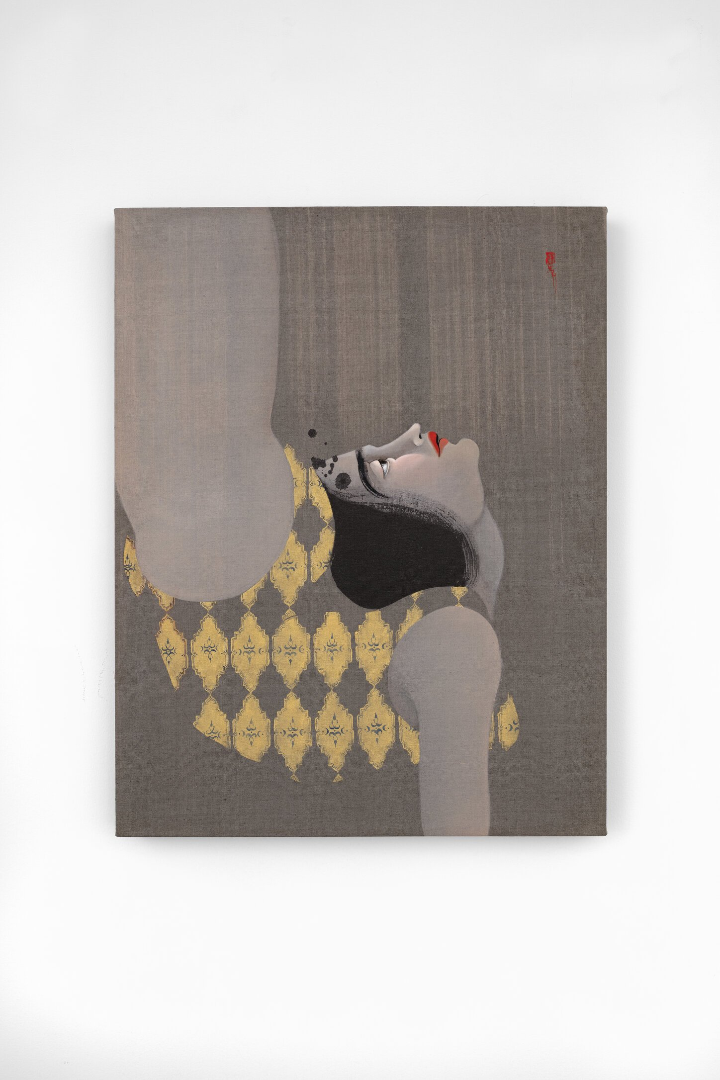Hayv Kahraman, 'Not Quite Human 6,' 2019. Oil on linen. 32 1/8 x 25 3/8 x 3 1/8 in. Jack Shainman Gallery, NY© Hayv Kahraman. Courtesy of the artist and Jack Shainman Gallery, New York.