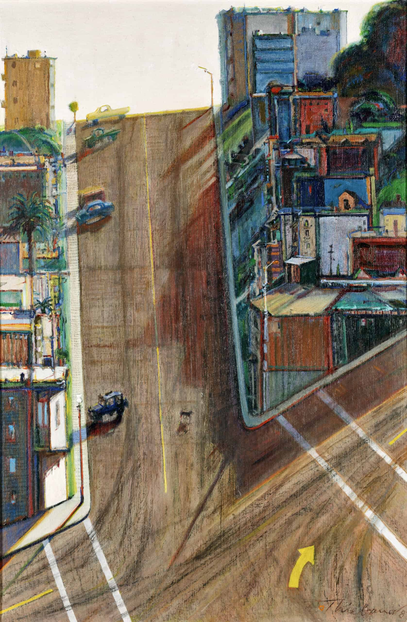 Wayne Thiebaud, Street and Shadow, 1982–1983/1996. Oil on linen, 35 3/4 x 23 3/4 in. Crocker Art Museum, gift of the Artist's family, 1996.3. © 2020 Wayne Thiebaud / Licensed by VAGA at Artists Rights Society (ARS), NY.
