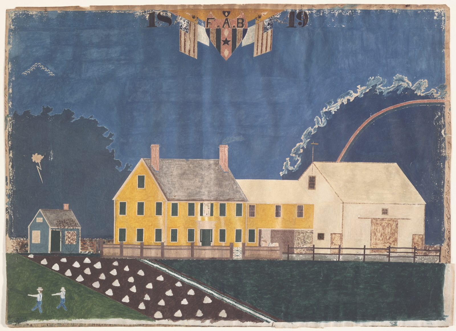 Farmstead in Passing Storm, 1849, watercolor, tempera paint, graphite, pen and ink with collage on paper, unidentified artist.