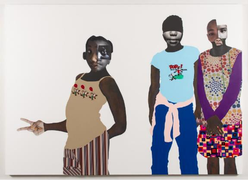 Deborah Roberts, The duty of disobedience, 2020. Mixed media collage on canvas. 72 x 100 inches. Artwork © Deborah Roberts. Courtesy the artist; Vielmetter Los Angeles; and Stephen Friedman Gallery, London. Image courtesy The Contemporary Austin. Photograph by Paul Bardagjy.