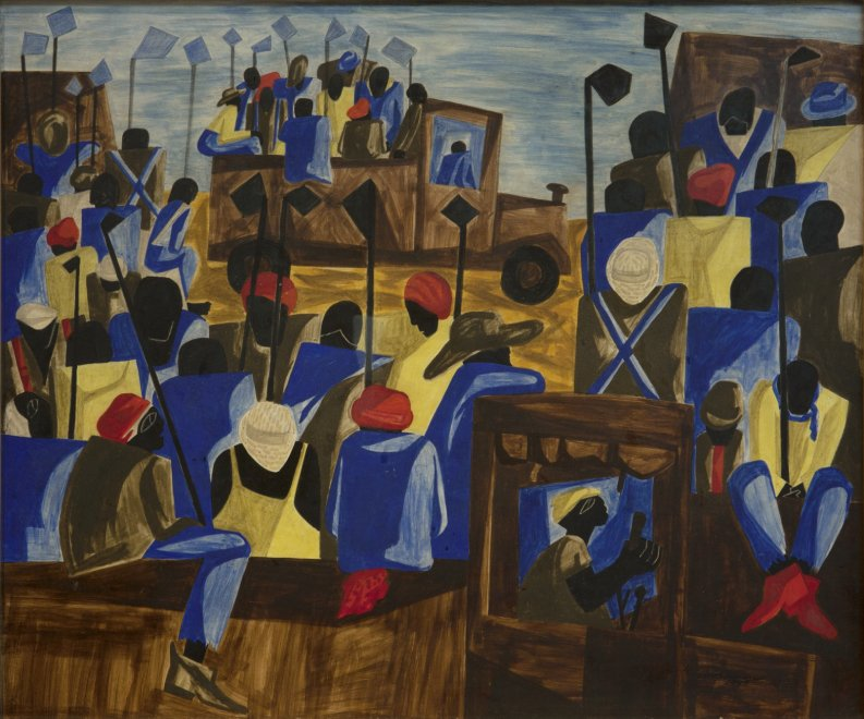 Jacob Lawrence, American, 1917 – 2000, 'In the Heart of the Black Belt,' 1947. Tempera on board, 20 x 24 in., Art Bridges. © 2021 The Jacob and Gwendolyn Knight Lawrence Foundation, Seattle / Artists Rights Society (ARS), New York.