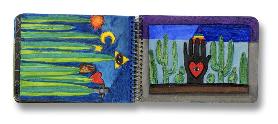 Betye Saar art, Spread from Mexico sketchbook, June 1975. Gouache, watercolor, and pencil. Courtesy of the artist and Roberts Projects, Los Angeles, California. © Betye Saar.PHOTO © MUSEUM ASSOCIATES/LACMA.