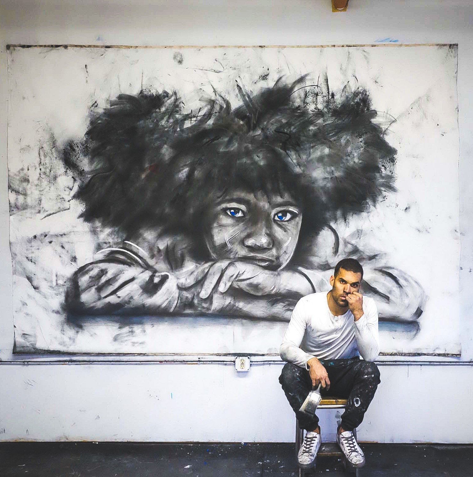 Micah Johnson art, 'Black Sheep.' 2020. 60 x 67_, Charcoal and oil on canvas from Micah Johnson's Black Sheep exhibition