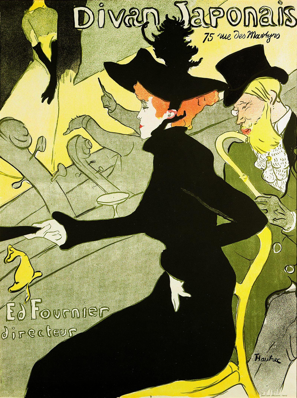 Henri de Toulouse Lautrec, 'Divan Japonais' (WP11), Color Lithograph, 1893 38x24 inches, Courtesy of PAN Art Connections Inc