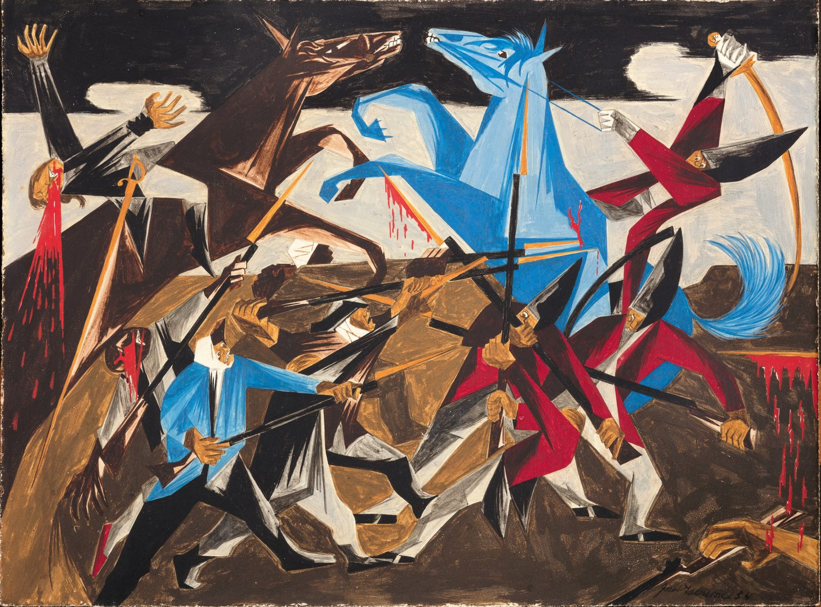 """Jacob Lawrence, ' . . . again the rebels rushed furiously on our men. —a Hessian soldier,.' Panel 8, 1954, from """"Struggle: From the History of the American People,"""" 1954–56, egg tempera on hardboard. Collection of Harvey and Harvey-Ann Ross. © The Jacob and Gwendolyn Knight Lawrence Foundation, Seattle/Artists Rights Society (ARS), New York. Photography by Bob Packert/PEM"""