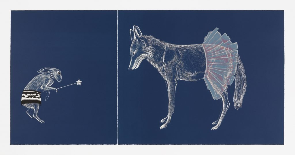 Color screenprint and lithograph, diptych; edition of 8, plus 3 artist's proofs 27 3/8 × 22 in. (69.53 × 55.88 cm) (sheet, left panel); 27 3/8 × 34 in. (69.53 × 86.36 cm) (sheet, right panel); 27 3/8 × 56 in. (69.53 × 142.24 cm) (overall). Highpoint Editions Archive, The Friends of Bruce B. Dayton Acquisition Fund and the Christina N. and Swan J. Turnblad Memorial Fund 2020.85.16a,b. Credit line: Copyright © Julie Buffalohead, published by Highpoint Editions