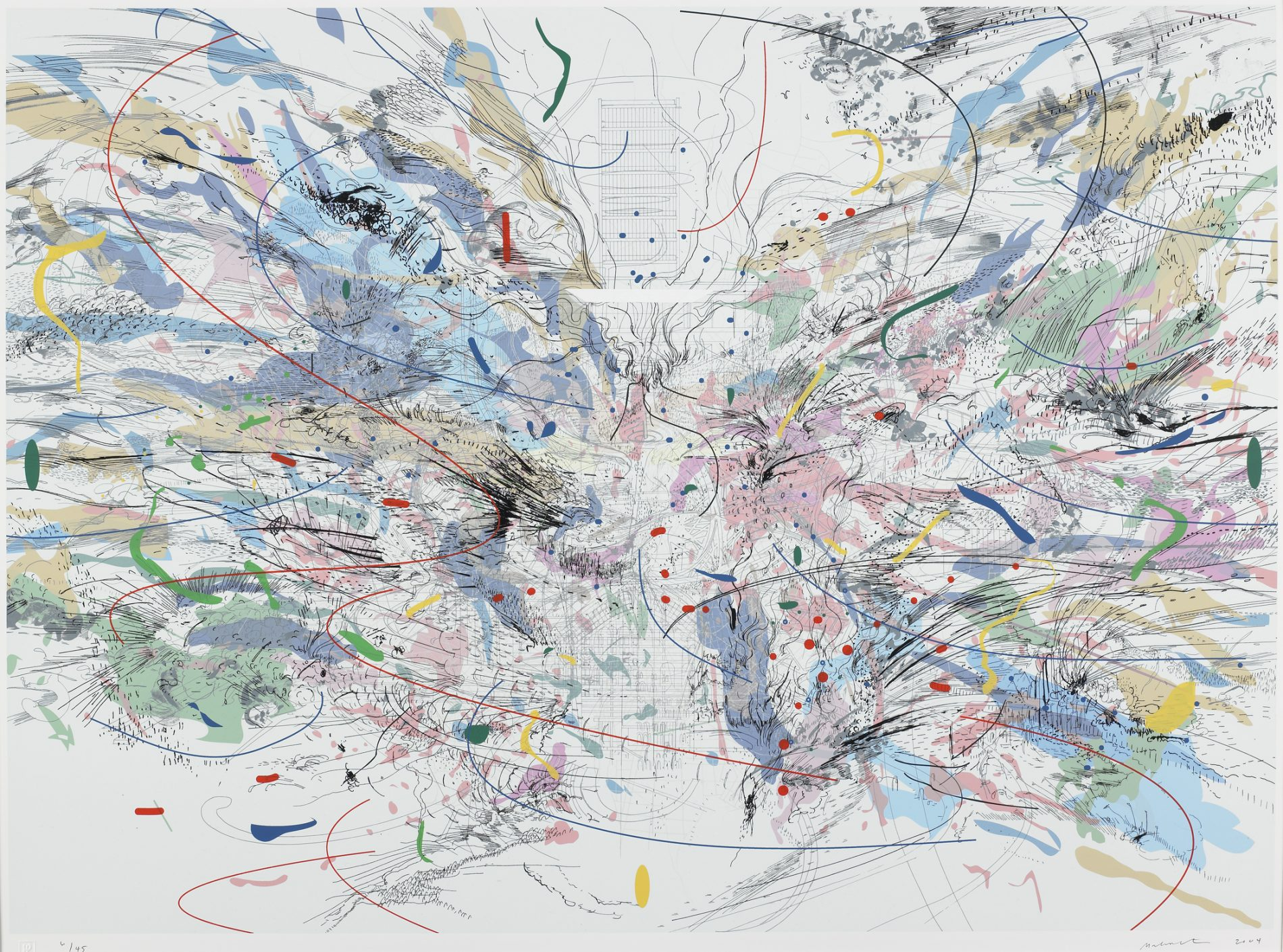 Julie Mehretu, American (born Ethiopia), 1970, 'Entropia (review),' 2004. Color screenprint and lithograph on wove paper; edition of 45, plus 6 artist's proofs. 29 × 40 in. (73.66 × 101.6 cm) (image); 33 1/2 × 44 in. (85.09 × 111.76 cm) (sheet) Highpoint Editions Archive, The Friends of Bruce B. Dayton Acquisition Fund and the Christina N. and Swan J. Turnblad Memorial Fund 2020.85.68 Credit line: Copyright © Julie Mehretu, co-published by Highpoint Editions and Walker Art Center.
