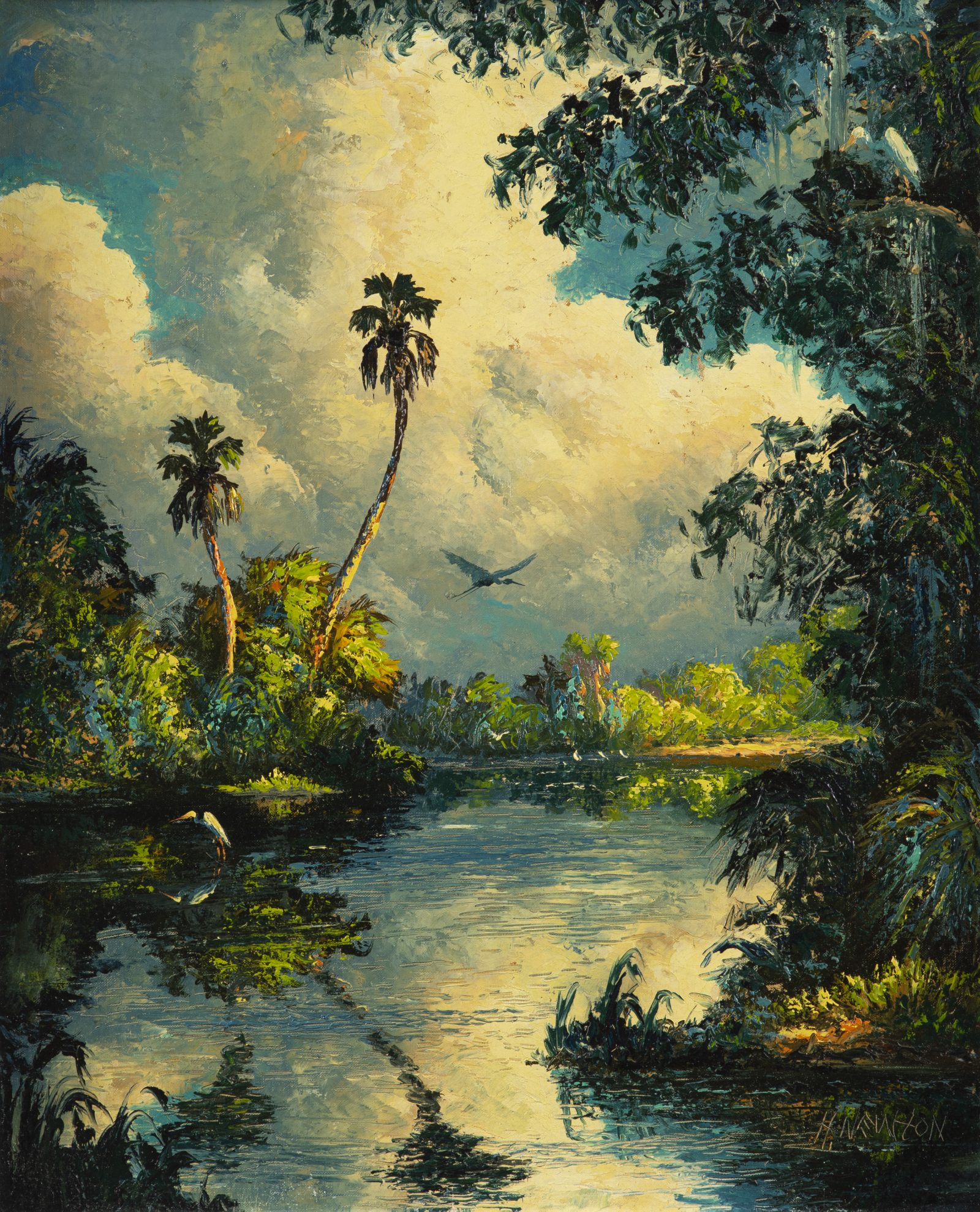 Harold Newton Untitled [ Early river scene with herons ] n.d. Oil on Upson board 25 ¾ x 20 ¾ in. Courtesy of the Asselstine Collection © Harold Newton Photography by Tariq Gibran