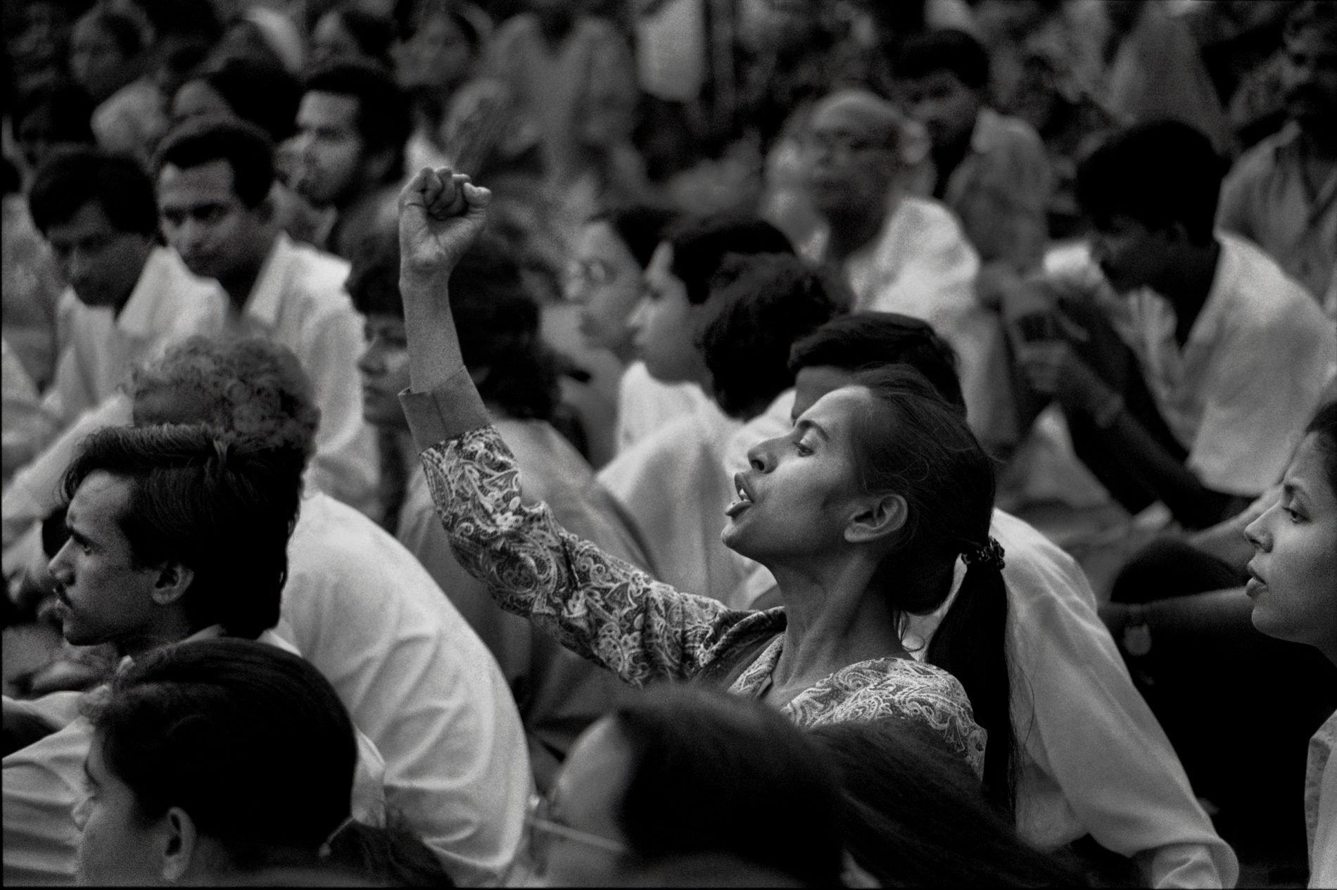 Shahidul Alam 'Smriti Azad at Protest at Shaheed Minar'