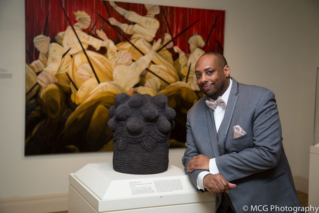 Donté K. Hayes (American b. 1975) with 'Sanctuary' at Gibbes Museum of Art 2020. Photo courtesy of © MCG photograph