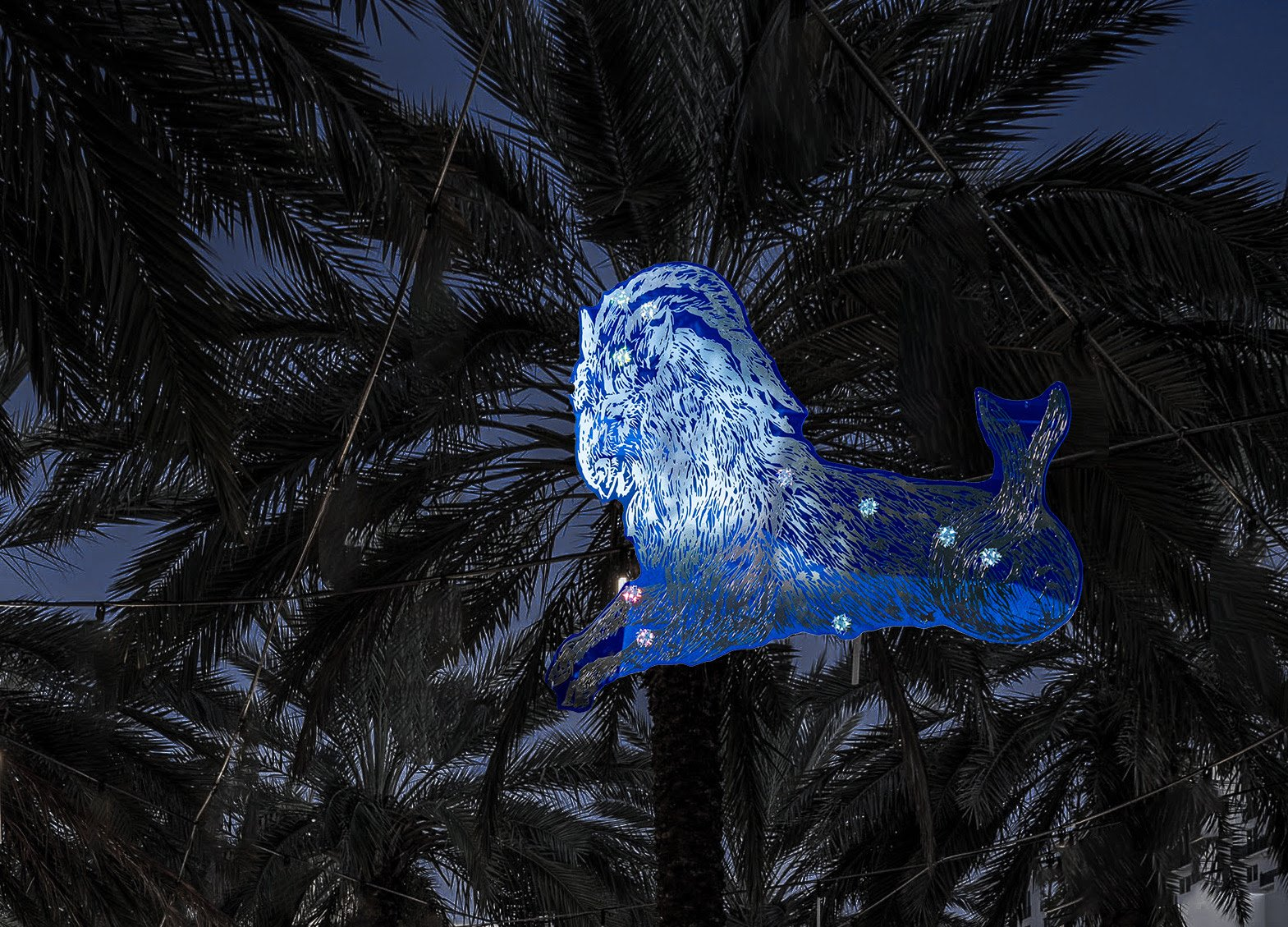 Example of Capricorn constellation by Kiki Smith for her site-specific installationy titled Blue Night.