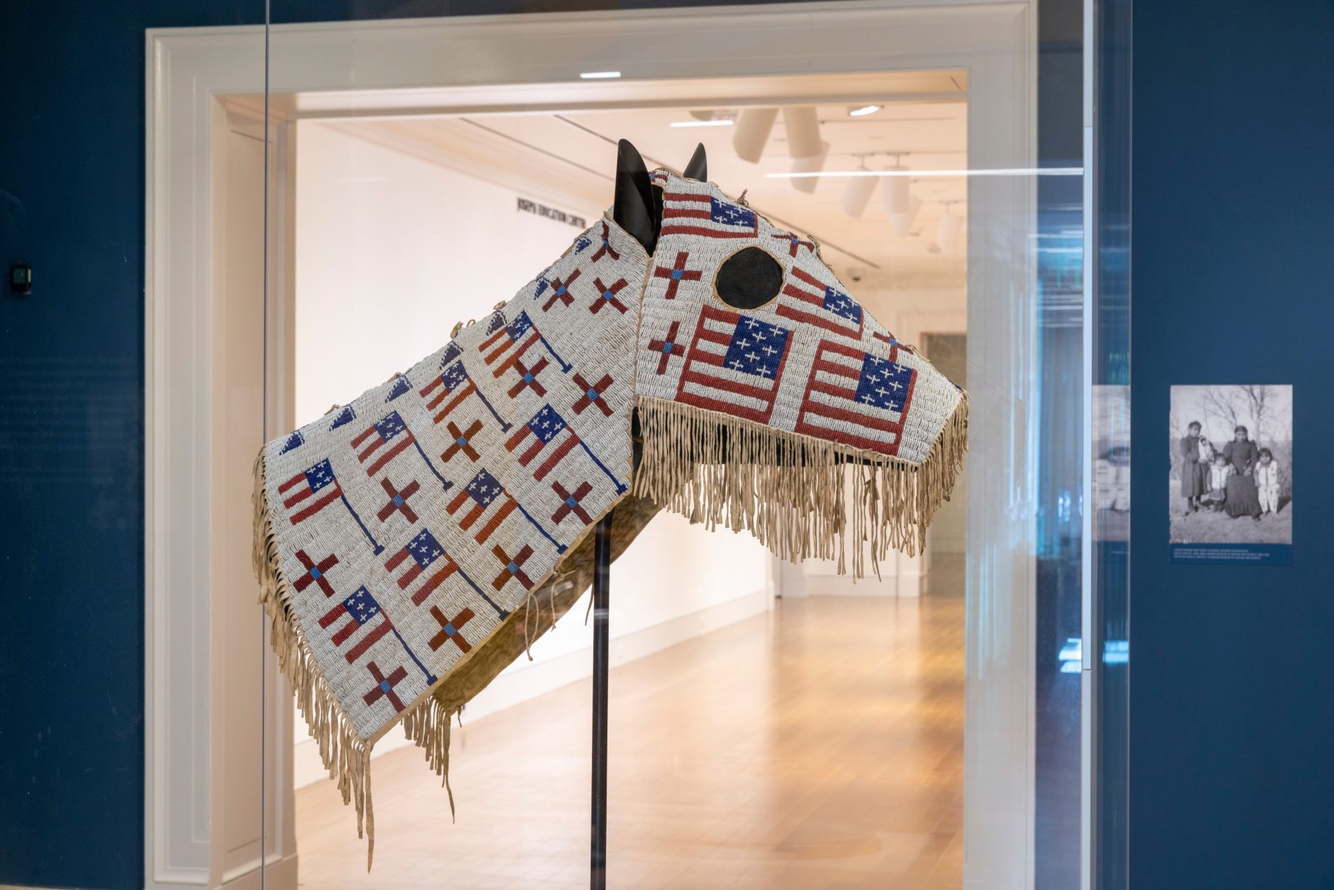 Horse Mask (T0070) 1900 Hide, glass beads 29 × 35 in. (73.7 × 88.9 cm.)