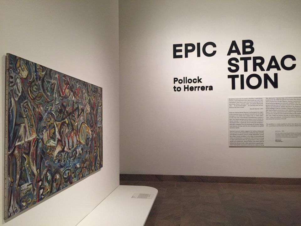 Entrance to Epic Abstraction exhibit at Metropolitan Museum of Art with Jackson Pollock's Pasiphae. CHADD SCOTT