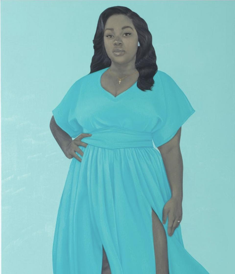 Amy Sherald (b. 1973) Breonna Taylor 2020 Oil on linen 137.2 x 109.2 cm / 54 x 43 inches.© AMY SHERALD. COURTESY THE ARTIST AND HAUSER & WIRTH